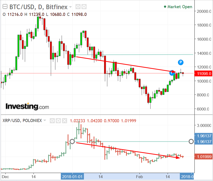 BTC/USD and XRP/USD Charts